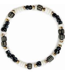 akola olivia beaded stretch bracelet in black/natural at nordstrom