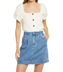 madewell women's jacquard square neck puff sleeve top, size small in antique cream at nordstrom