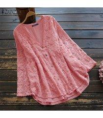 zanzea camisa de ganchillo de encaje de manga larga para mujer tops cuello en v blusa ahuecada tops tallas grandes -rosado