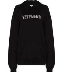 black rhinestone logo hoodie