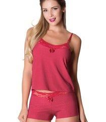 short doll em liganete ms fashion com detalhes em renda vermelho com poá branco