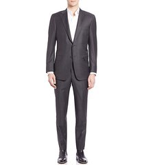pinstriped woolen suit
