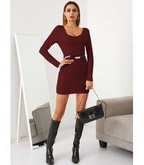 yoins basics cuadrado cuello corte ajustado cinturón diseño mini vestido