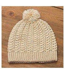alpaca blend hat, 'sweet alabaster' (peru)
