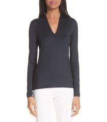 women's akris long sleeve silk jersey blouse, size 6 - blue