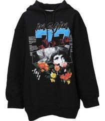 msgm graphic print hoodie