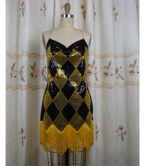 suicide squad harley quinn black gold sequin club dress backless cosplay costume