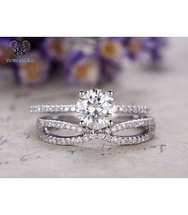 criss cross bridal engagement ring set in round cut cz 14k white gold 925 silver