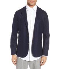 men's eleventy slim fit wool blend sport coat, size 48 us / 58 eu r - blue