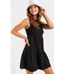 catelina tiered babydoll mini dress - black