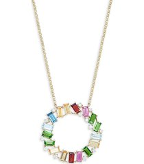 effy women's 14k yellow gold, multi-stone & diamond open circle pendant necklace