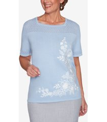 alfred dunner women's missy french bistro asymmetric floral pointelle yoke sweater