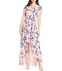 eliza j floral chiffon high/low maxi dress, size 8 in blush at nordstrom