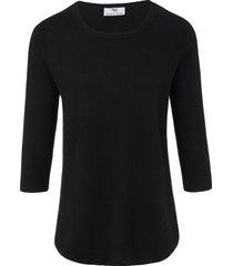 trui van zijde en kasjmier met 3/4-mouwen van peter hahn zwart