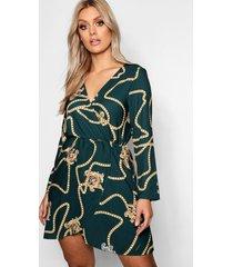 plus wikkel jurk met kettingprint, groen