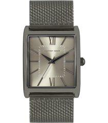 geoffrey beene faux chrono heavy steel mesh watch
