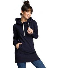 sweater be b072 lange trui - marineblauw