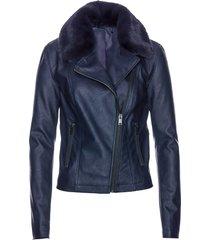 giacca in similpelle con collo in ecopelliccia (blu) - bpc selection