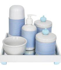 kit higiene espelho completo porcelanas, garrafa pequena e capa coroa azul quarto bebê menino