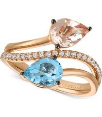 le vian peach morganite (3/4 ct. t.w.), sea blue aquamarine (9/10 ct. t.w.) and vanilla diamond (1/6 ct. t.w.) bypass ring in 14k rose gold