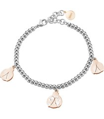 bracciale coccinelle in acciaio bicolore e cristalli per donna