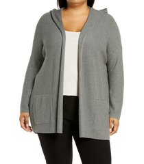eileen fisher open front organic cotton hooded cardigan, size 3x in moon at nordstrom