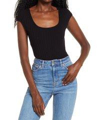 women's 4si3nna livy cap sleeve ribbed bodysuit, size large - black