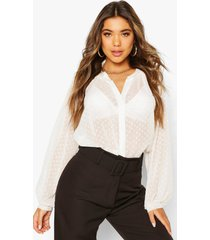 dobby mesh button down shirt, white