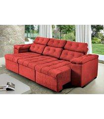 sofa itã¡lia 2,00 mts retrã¡til e reclinavel tecido suede vermelho - cama inbox - incolor - dafiti
