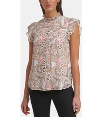 calvin klein printed ruffled blouse