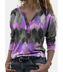 camicetta da donna con collo a risvolto manica lunga stampata geometrica