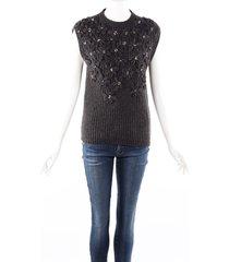 brunello cucinelli gray cashmere knit crystal flower applique sweater gray sz: s