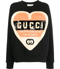 gucci sequinned heart sweatshirt - black
