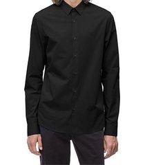 camisa negra calvin klein classic cotton stretch slim fit shirt