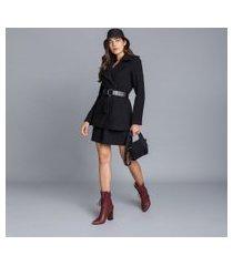 lez a lez - casaco lã batida com cinto preto reativo