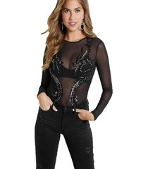 body ls dragon mesh bodysuit negro guess