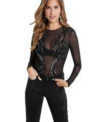 body ls dragon mesh bodysuit negro guess