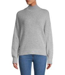 360 cashmere women's cashmere turtleneck sweater - light heather grey - size s