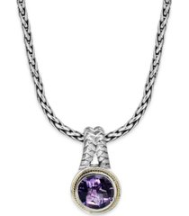 balissima by effy amethyst round pendant (3-3/8 ct. t.w.) in 18k gold and sterling silver