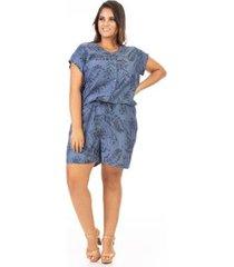 macacão jeans confidencial extra plus size feminino - feminino