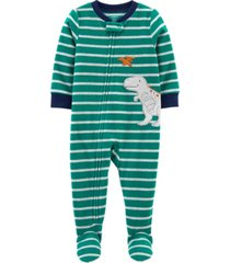 carter's toddler boy 1-piece dinosaur fleece footie pjs