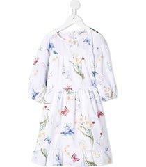 monnalisa butterfly print poplin skirt - white