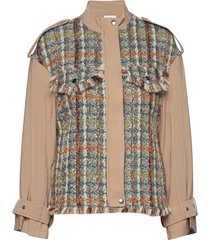 jacket in mix canvas and boucle ulljacka jacka brun coster copenhagen