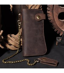 retro genuine leather biker wallet with chain men leather wallet and card holder