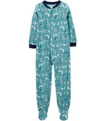 carter's big boy 1-piece video games fleece footie pjs