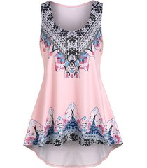 flower print high low casual tank top