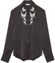 chemise embroidered button down shirt in black