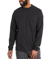 wolverine men's guardian cotton™ long sleeve pocket tee black, size l