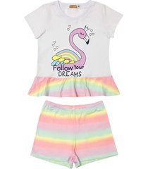 conjunto pijama flamingo douvelin rosa - branco/rosa - menina - algodã£o - dafiti