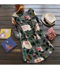 zanzea flor mujer o cuello botones de manga larga ajustables mini vestido floral gris -gris